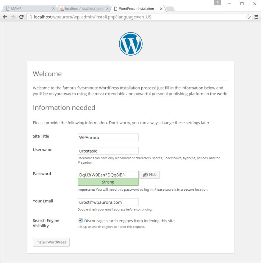 korak 5 instalacije WordPress-a