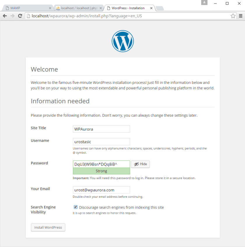 korak 5 instalacije WordPress-a