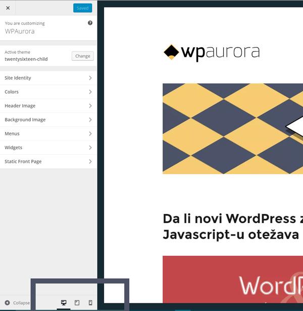 inovacija WordPress-a 4.5 jeste mogućnost da vidite kako izgleda vaš sajt direktno u customizer-u WPAurora