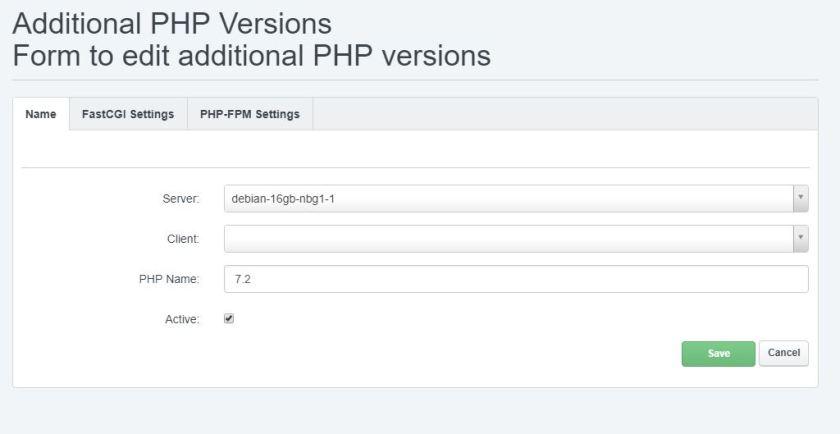 Dodavanje PHP 7.2 unutar ISPConfiga slika 01