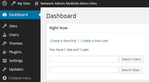 Bảng điều khiển nhiều trang Network Admin trong WordPress
