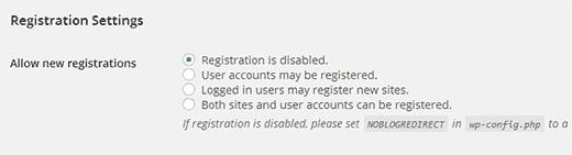 cài đặt đăng ký trên nhiều trang mạng WordPress