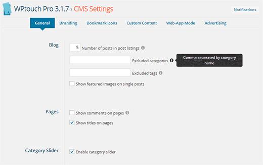 cài đặt chủ đề màn hình trong WPtouch Pro 3