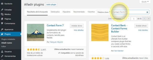 Instalar plugin de contact form 7 del panel de administracion de wordpress