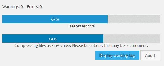 progreso de backup de BackWPup