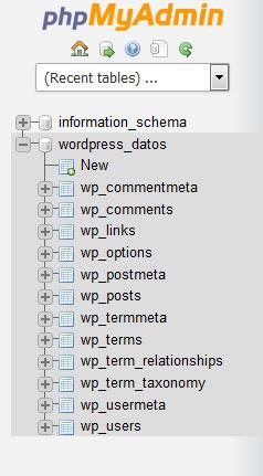 seleccionar base de datos de wordpress