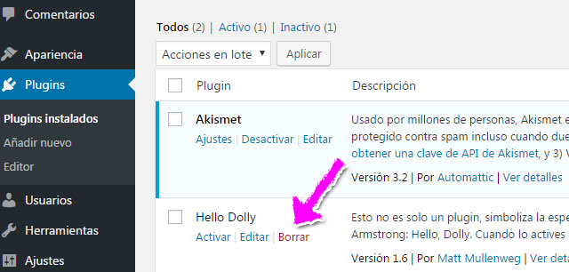 Borrar y desactivar plugin en WordPress