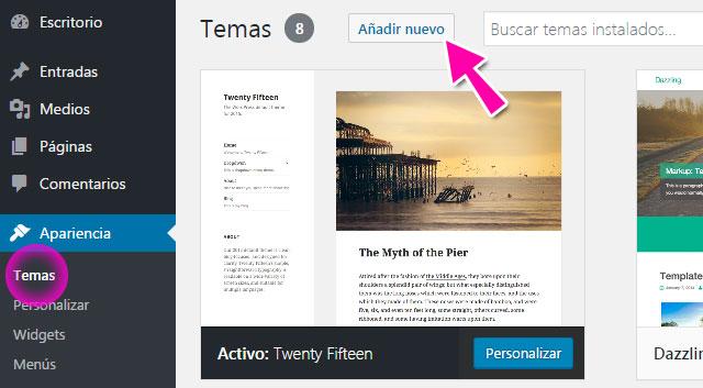 Instalar tema nuevo en WordPress