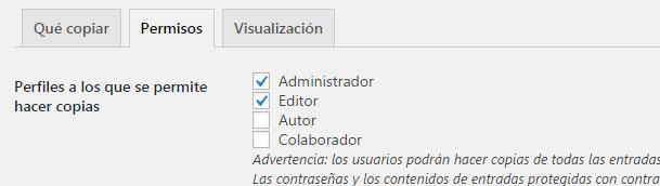 usuarios que tienen permiso para copiar entradas en wordpress en Duplicate Post