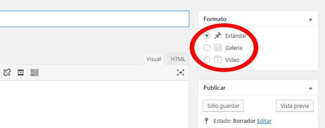 Agregar formatos de entrada en tema de WordPress