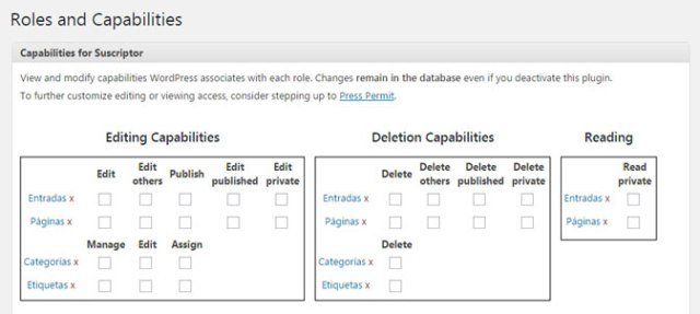 Editar roles de WordPress de perfiles de usuario con plugin Capability Manager Enhaced