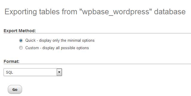 Exportar base de datos de WordPress desde phpMyAdmin