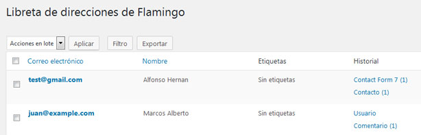 Libreta de direcciones en el plugin Flamingo de WordPress
