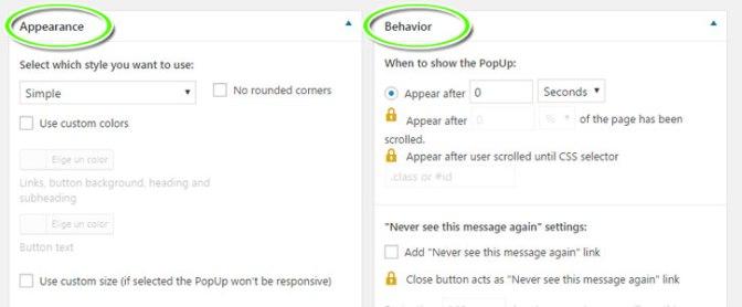 Personalizar la apariencia y el comportamiento de la ventana emergente popup del plugin WordPress PopUp