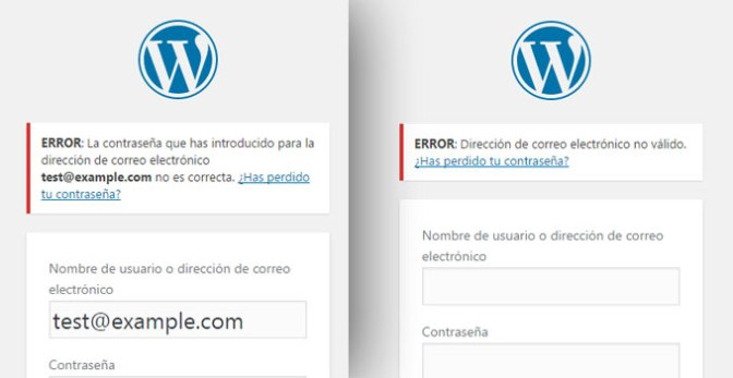 mensajes de error encima del formulario de acceso login en WordPress