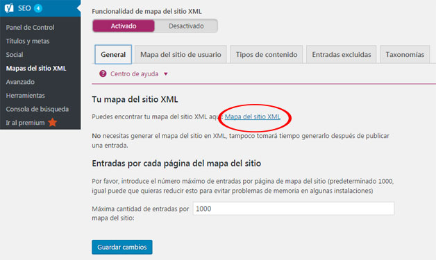 Generar mapa de sitio xml con plugin Yoast SEO en WordPress