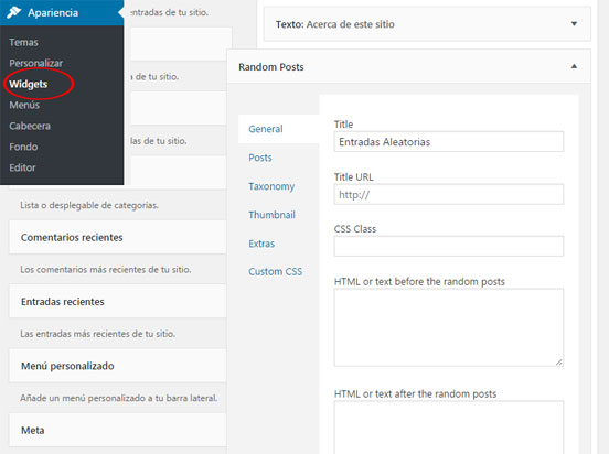 Mostrar entradas aleatorias en WordPress con Widget del plugin Advanced Random Posts Widget