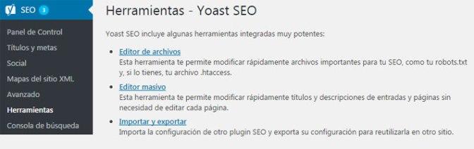 editor archivo robots con plugin Yoast SEO