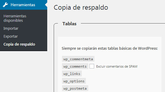 plugin WP-DB-Backup para hacer backup de la base de datos en WordPress