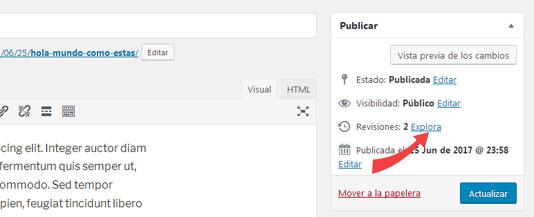 Explorar revisiones entradas de WordPress