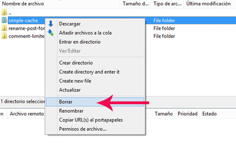 Borrar un plugin en WordPress manualmente mediante FTP