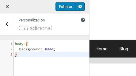 Editar CSS en el CSS adicional del personalizador de WordPress