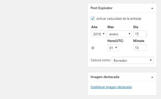 Meta box del plugin Post Expirator para establecer fecha de caducidad de producto en WooCommerce