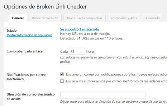 Ajustes del plugin Broken Link Checker para encontrar enlaces rotos en WordPress