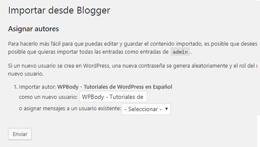 Asignar el contenido de Blogger a usuario en WordPress