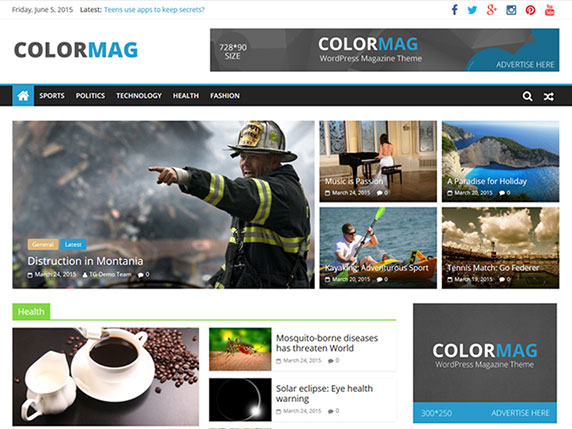 Enlace de demo del gratuito tema ColorMag de WordPress