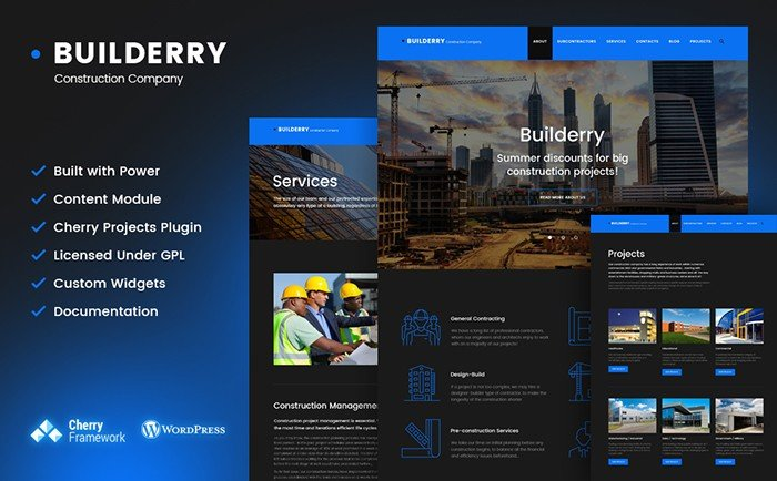 The Selection of Top 20 Bestselling Professional Construction and Architecture WordPress Themes