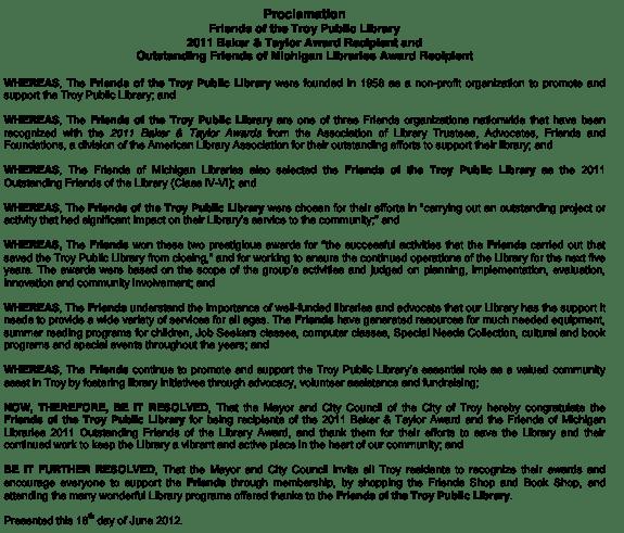 2012 City of Troy Proclamation