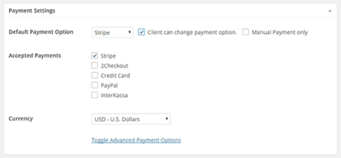 Setting payment options for a single invoice