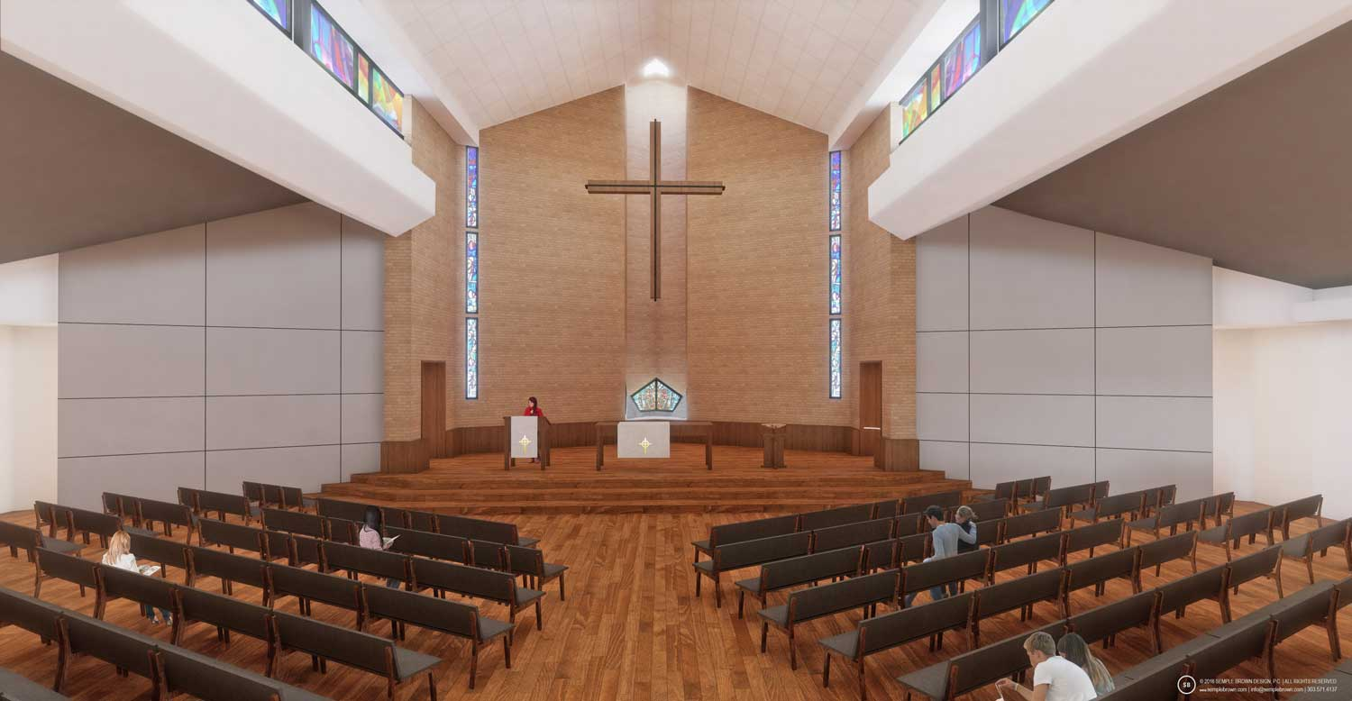 Proposed Wellshire Church Sanctuary Interior, looking East - with painted ceiling