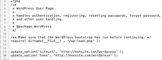 Capture d'écran - Edition du code source du wp-login.php