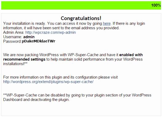 Congratulations WordPress Installed Message