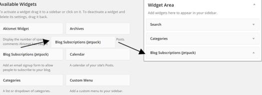 Dragging Subscription Widget