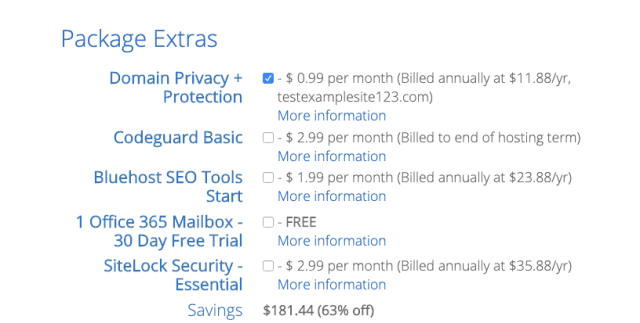 bluehost-package-extras