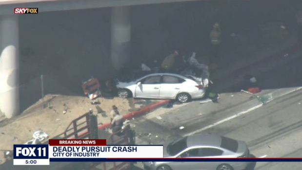 One dead, one critically injured after pursuit ends in crash in City of Industry