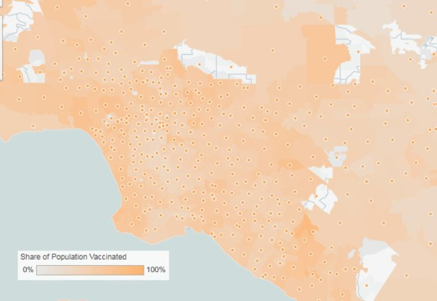 Coronavirus: Vaccination percentages by age in California on June 13
