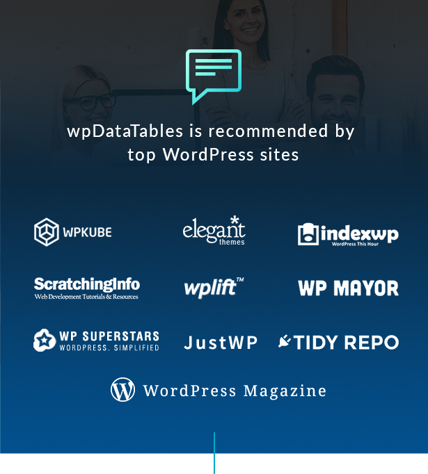 wpDataTables is recommended by top WordPress websites