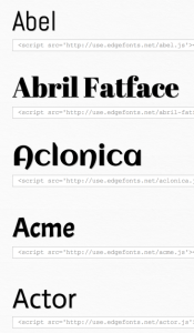 Adobe Edge Web Fonts List