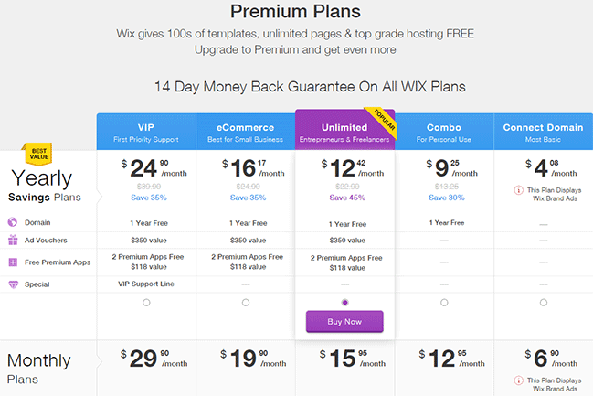 Wix-vs-WordPress-Wix-Pricing