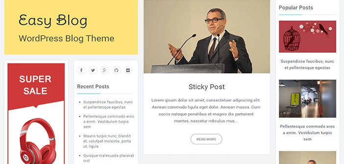 Easy Blog - Responsive Blogging WordPress Theme