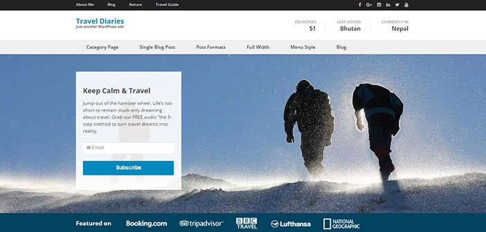 Travel Diaries - Beautiful Travel Blog Theme