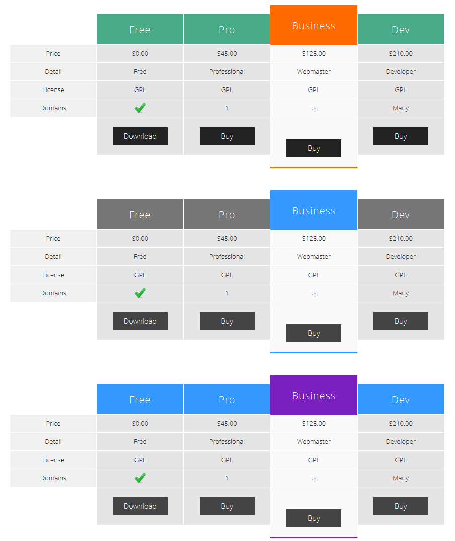 pricing table metro template