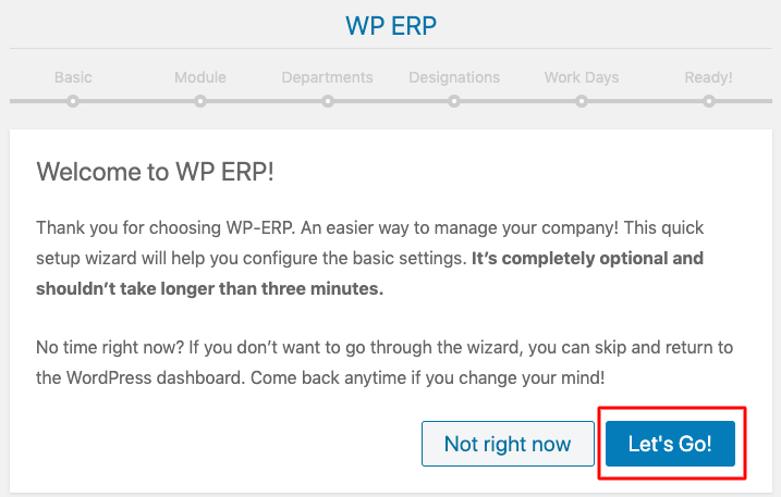wp erp installation wizard