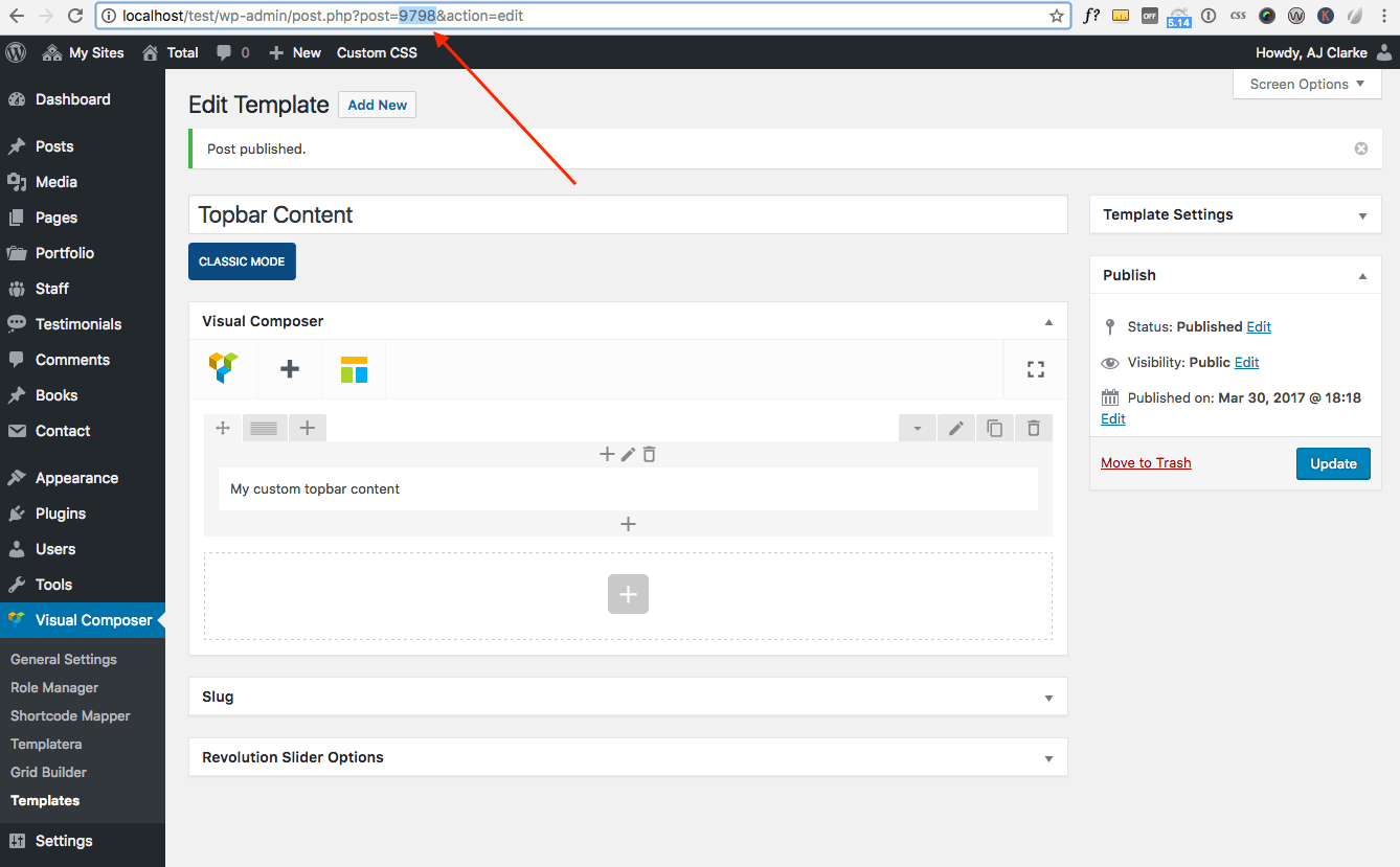 Replace Topbar Content With Visual Composer Modules
