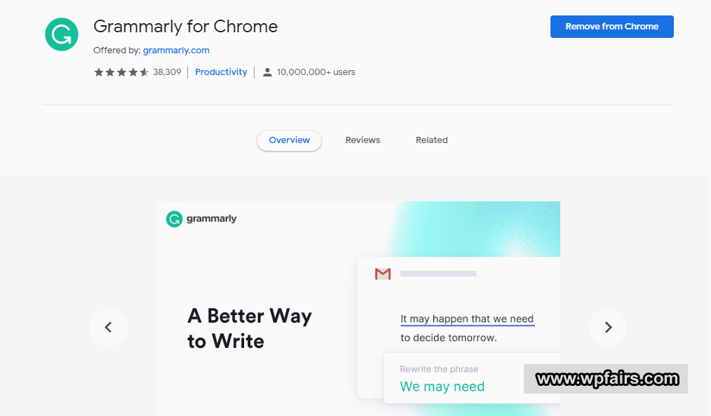 Grammarly Review - Write Better Article With Grammarly - Google Chrome Extention - WpFairs