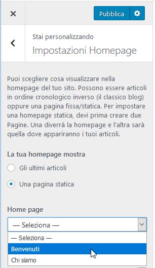 impostazioni homepage pannello Personalizza di WordPress